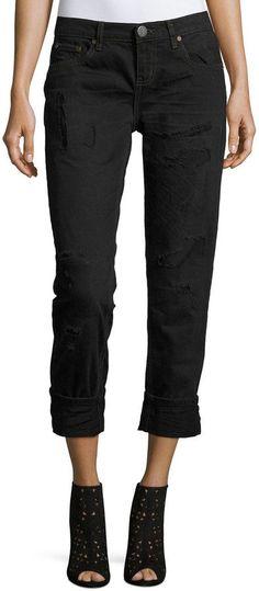 One Teaspoon Awesome Baggies Distressed Jeans, Black