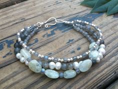labradorite pearl and peridot triple strand by hollystudios, $40.00