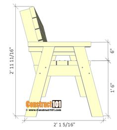2x4 bench plans, side view.