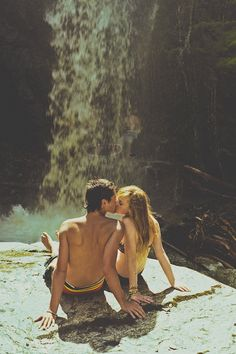 love, couple, kiss by a waterfall More fun on 50Nights.com!