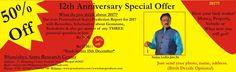 """12TH Anniversary celebration month .... आप सभी को यह बताते हुए बहुत ख़ुशी है की """"भविष्य एस्ट्रो रिसर्च सेन्टर """" नवम्बर माह मैं अपने 12 वर्ष पूर्ण कर रहा है ! श्री घंटाकर्ण महावीर जी की कृपा से और लाखों लोगों के विश्वास से हम 12 वर्ष पूर्ण कर रहे हैं ! इस अवसर पर """"BARC द्वारा दी जाने वाली सभी सुविधायों मैं एवं ५०० से भी अधिक प्रोडक्ट्स पर विशेष छूट ऑफर दिए जा रहे हैं ,आप संपर्क कर लाभ ले सकते हैं ! आप अपने सुझाव भी दें,और सलाह दें की 12TH Anniversary celebration month को हम आप सभी  के साथ कैसे…"""