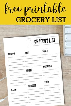 Grocery shopping list to keep track of what food items to buy from the grocery store. Grocery shopping list to keep track of what food items to buy from the grocery store. List Template, Templates Printable Free, Free Printables, Shopping List Grocery, Grocery Store, Grocery List Printable, Planning Budget, Meal Planning, Free Groceries