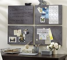 Modular Galvanized Wipe Board Tile wide x high Galvanized sheet over an MDF frame. Includes an eraser and pen. Home Office Organization, Home Office Decor, Home Decor, Office Ideas, Paper Organization, Organizing Ideas, Pottery Barn, Wipe Board, Erase Board