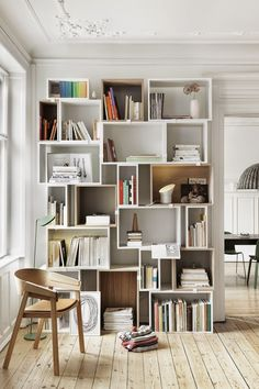 """voguelivingmagazine: """"A Muuto 'Stacked' shelving system — """"In my opinion wall-to-ceiling shelves are always stunning"""" — Vince Frost. """""""