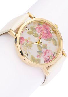 Rose Flower Sport Teen Accessory Fashion Woman Wristwatch Gift White Band Watch
