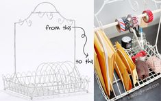 DIY Dish Rack turned into a Shipping Station using Cost Plus World Market's White Wire Dish Rack via  livelaughrowe.com >> #WorldMarket Inspirations
