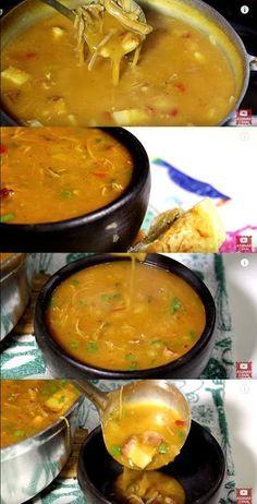 Caldo de carne com Mandioca Brazilian Dishes, Menu Dieta, School Lunch, Salsa, Curry, Food And Drink, Tasty, Favorite Recipes, Cooking