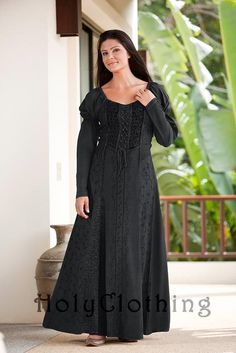 Kalila Puff Sleeve Lace-Up Victorian Peasant Corset Dress Gown - Dresses  holy clothing.com
