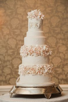 Elegant fondant wedding cake with sugar flowers