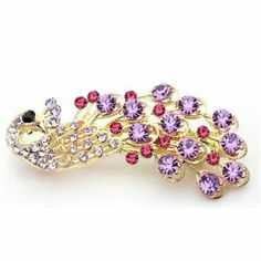 Crystal Rhinestone Peacock Hairpin Hair Clip (Pink) by SaveGoodBuy. $4.59. Rhinestone Peacock Hair Clip. Materials: Alloy & Rhinestone. Gem color may appear darker due to monitor settings and light. size:6.5cm*2.5cm. Package: 1pcs peacock hair clip in a gift box. 1 Pair Crystal Decorative Hair Clip. We have blue, yellow, purple, pink,green in stock.Please choose which color you like