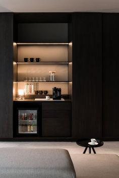 Popular Home Mini Bar Kitchen Designs Ideas To Have Asap 11 Hotel Minibar, Bar Sala, Home Theaters, Bedroom Bar, Bedroom Decor, Hotel Lounge, Built In Bar, Cinema Room, Theater Rooms