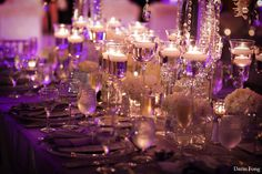 purple wedding with floating candles