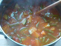 hearty vegetarian minestrone with hunks of melted parmesan