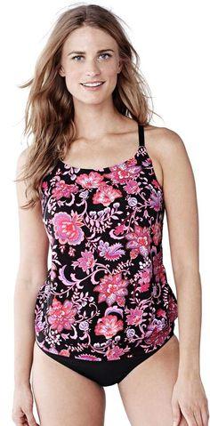 d4597dd12a6 Lands' End Women's Long Beach Living Blouson Tankini Swimsuit Top - Larimar  Floral alternate image