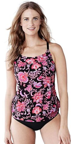 6f6c908306 Lands' End Women's Long Beach Living Blouson Tankini Swimsuit Top - Larimar  Floral alternate image