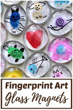 Invite your children to use their fingertips and thumbs to make Fingerprint Art Glass Magnets. Thumbprint art glass magnets are an easy craft for kids. DIY glass magnets with fingerprint art also make…More Easy Crafts For Kids, Toddler Crafts, Gifts For Kids, Art For Kids, Kids Diy, Fathers Day Gifts From Kids Homemade, Diy And Crafts Sewing, Crafts To Sell, Fun Crafts