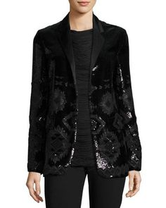 TRGV8 Ralph Lauren Collection Tess Geometric-Beaded Tuxedo Jacket, Black