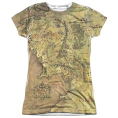 Lord Of The Rings : Middle Earth Map Sublimated Junior T-Shirt