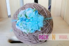 RTS Sadie Headband Blue Vintage Floral Pearl Flower Blossom mohair crochet band tie back headband photo prop by RockNWool on Etsy