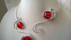 ♥ ♥ ♥ CREATIONS FOR RED LOVERS ♥ ♥ ♥ by BIJOUX LIBELLULE on Etsy Red Jewelry, Modern Jewelry, Wedding Jewelry, Bridesmaid Jewelry, Wedding Bridesmaids, Wire Necklace, Hoop Earrings, Cadeau St Valentin, Gifts For Women