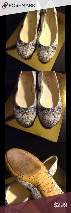 💙 100% Authentic Chanel Swarovski Crystal Flats! Excellent/Like New Condition! Absolutely CUTE! True to the size 7! Metallic blue & gold threading, tweed style. Cute, fun and will go with any of your outfit! Great statement piece! No Box & No Dust Bag! 💛 CHANEL Shoes Flats & Loafers