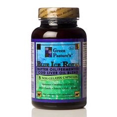 """http://livesuperfoods.com/natural-supplements/fish-butter-oils/green-pasture-blue-ice-royal-capsules.html Green Pasture's Blue Ice Royal is a combination of 1 part X-Factor High Vitamin Oil to 2 parts Fermented Cod Liver Oil. Dr. Weston A. Price discovered High Vitamin Butter Oil in the 1930's and emphasized that when combined with cod liver oil """"it worked like magic"""". Each 120 capsule jar contains 60 servings."""