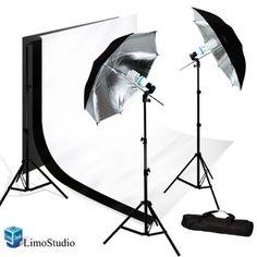 Limostudio New Photo Photography Video Studio Umbrella Continuous Lighting Light Kit Set-2x Lighting Stand, 10' X 10' Black & White Double Muslin, Carrying Case_AGG712 LimoStudio,http://www.amazon.com/dp/B005DFAOQM/ref=cm_sw_r_pi_dp_3-O.sb0HDP8QGD5C