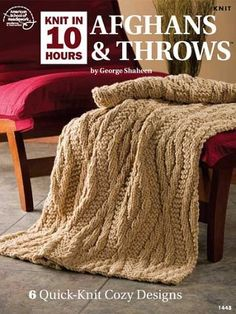 The easy stitch repeats in super bulky or bulky yarn of these blanket and throw knitting patterns help make quicker projects. Many of the patterns are free. Knitting Designs, Knitting Projects, Knitting Patterns, Knitted Afghans, Knitted Blankets, Annie's Crochet, Crochet Kits, Chrochet, Easy Stitch