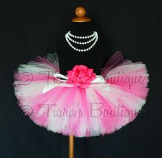Sugar Pink  hot pink and white custom sewn 8'' tutu by TiarasTutus, $30.00