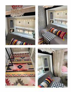 Build A Camper, Diy Camper, Camper Ideas, Camper Van, Rv Curtains, Camper Flooring, Brown Wallpaper, Brown Carpet, Upholstery Foam