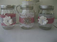 3 Rosa arpillera, encaje y tarros de Bling Mason, velas de la boda, floreros, centros de mesa boda, Shabby Chic