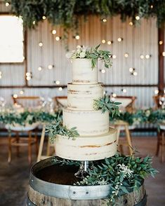 Wedding Trends Semi Naked Wedding Cake With greenery - Today we're rounding up our favourite beautiful Summer wedding cakes from some of Australia's best cake artists. From naked cakes to decorated cakes. - Page 44 Naked Wedding Cake, Summer Wedding Cakes, Wedding Cake Rustic, Chic Wedding, Wedding Trends, Perfect Wedding, Dream Wedding, Wedding Day, Trendy Wedding