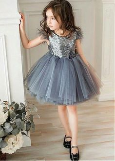 Simple Wedding Dress, Sweet Sequin Lace & Tulle Jewel Neckline Knee-length Ball Gown Flower Girl Dress With Feather Handmade Flowers, Shop fit and flare dresses that match your bridal style featuring the latests trends. Girls Party Outfits, Baby Girl Party Dresses, Dresses Kids Girl, Kids Outfits, Flower Girl Dresses, Dress Girl, Dress Party, Frocks For Girls, Kids Frocks