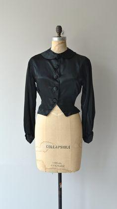5e97ce840e9d3 Noirmont blouse • vintage 1930s blouse • black silk satin 30s jacket