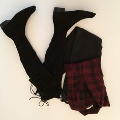 A perfect outfit for fall! Stuart Weitzman suede LOWLAND over-the-knee boots, black skinnies & a cozy plaid shirt. More on www.tellmepretty.com