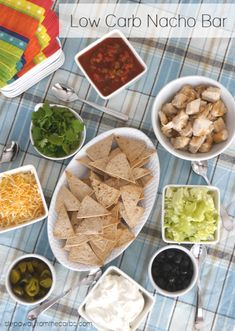Low Carb Nacho Bar - perfect for game days and entertaining! Low Carb Nacho Bar - perfect for game days and entertaining! Best Low Carb Recipes, Low Sugar Recipes, Keto Recipes, Snack Recipes, Ketogenic Recipes, Favorite Recipes, Low Carb Appetizers, Low Carb Desserts, Low Carb Nachos