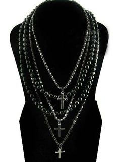 Black Pearls Bead Cross Necklace