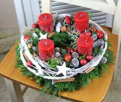 Advent Wreath - a unique product by unvergaenglich on DaWanda- Adventskranz –. Christmas Advent Wreath, Christmas Candle Decorations, Christmas Arrangements, Winter Christmas, All Things Christmas, Christmas Time, Holiday Decor, Table Decorations, Flower Arrangement Designs