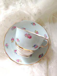English Bone China Colclough Teacup and Saucer Chateau Blue Cottage Style Tea Party Thank You or Housewarming Gift Inspiration