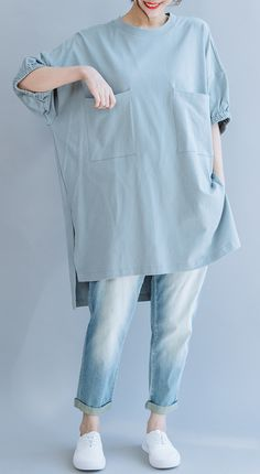 Handmade light blue cotton o neck pockets Vestidos De Lino summer shirts Look Fashion, Hijab Fashion, Denim Fashion, Fashion Dresses, Iranian Women Fashion, Korean Fashion, Hijab Stile, Clothing Hacks, Mode Hijab