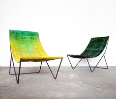 Repurposed over-dyed sling chairs from   Still+Co.  http://www.econesting.com/2012/02/23/repurposed-rug-sling-chairs/