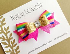 Neon Bows, Gold Glitter Bow, Neon Pink Bow Headband/Hair Clip, Neon Bow, Pink and Gold Bow, Summer Sparkle Bow by Ruby Lovely Shop