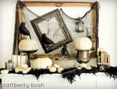 Black & White Halloween mantle decor. Gives kind of a vintage flair to the look.