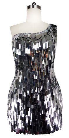 05eb29c0 Short Handmade Rectangular Paillette Hanging Metallic Silver Sequin Dress  with One-shoulder Cut. Sequence