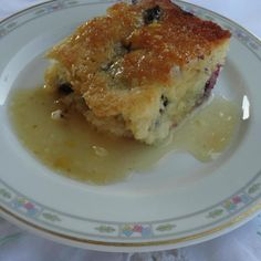 Blueberry Cake with Vanilla Butter Sauce