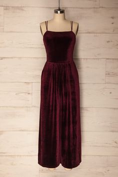 4f22a57b4c99 Olzai Burgundy Velvet Jumpsuit with Wide legs