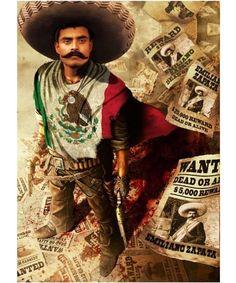 Emiliano Zapata Wanted Reward Mexican T Shirt Arte Cholo, Cholo Art, Chicano Drawings, Chicano Art, Mexican Heroes, Aztec Drawing, Mexico Wallpaper, Arte Lowrider, Akita