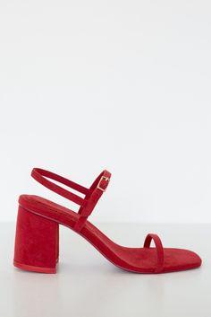 2eab18122982 Rafa Red Vegan Suede Simple Sandal Simple Sandals