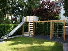 swing set play structure w/ covered sandbox made out of wood, steel, engineering plastic & rope