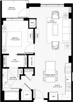 One bedroom, 744 square feet, floors & houses Tiny House Big Living, Small Tiny House, Tiny House Cabin, Small House Design, Cottage House, Studio Floor Plans, Small House Floor Plans, One Bedroom House Plans, Apartment Floor Plans